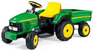 this tractor is modeled after the real deal from john deere the trailer is detachable and it is designed to allow users to haul their belongings