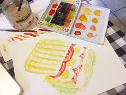 food watercolor ilration mid process
