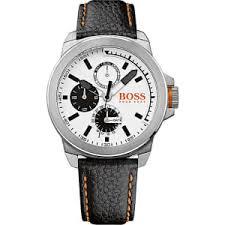 hugo boss orange men s stainless steel black leather watch from hugo boss orange men s stainless steel black leather watch