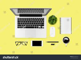 neat office supplies. Neat Yellow Hipster Desk Table With Computer Gadgets And Office Supplies. Top View, Flat Supplies K