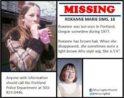 """Missing Northwest on Twitter: """"Roxanne Sims has been #missing from  #Portland, #Oregon for 40 years. The exact date she was last seen is not  certain, and very few details are known about"""