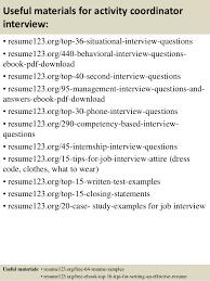 ... 12. Useful materials for activity coordinator ...