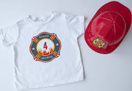 make a diy personalized fireman iron on t shirt for a firefighter birthday party