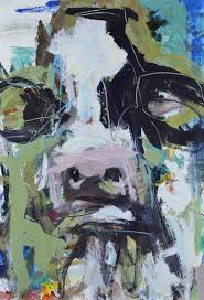 colorful abstract cow art