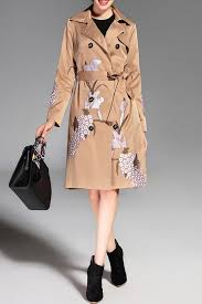 affordable on down embroidered trench coat with belt