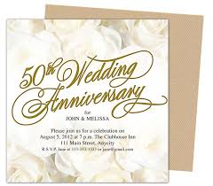 Anniversary Template 50th Wedding Anniverary Invitations Roses Gold 50th Wedding