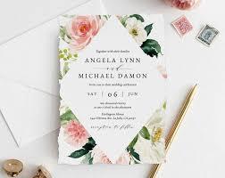 Wedding Invitation Template Wedding Invitation Template Printable Wedding Invitation Suite Blush Flowers Wedding Invitation Set Floral Wedding Templett W29d