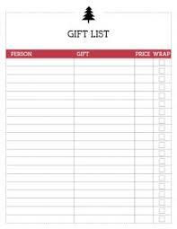 Gift Tracker Free Printable Christmas List Template Gift List Paper Trail Design