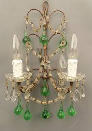 pretty french crystal and coloured glass wall scon antique lighting