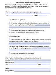 Month To Month Lease Agreement Example Free Iowa MonthtoMonth Rental Agreement PDF Word Doc 22
