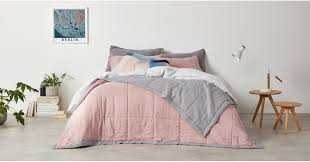 brisa 100 linen soft washed reversible bedspread 220 x 225cm dusky pink and grey bedspreads blankets bed bath made com