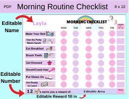 Daily Routine Editable Name Checklilst Digital Download Morning Routine Checklist Morning Routine Morning Checklist