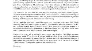Enchanting Cover Letter Examples Veterinary Technician Veterinary