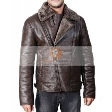 b3 aviator er dark brown flight leather jacket with fuax fur mens er jacket