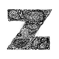 Fototapeta Písmeno Z Dekorativní Abeceda S Bordó Zen Náplní Doodle Tetování