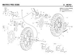 Technical diagram for a rs2 50 matrix orange 2006 wheels and brakes