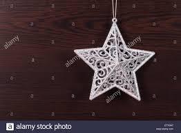 Weiße Sterne Christbaumschmuck Aus Holz Hintergrund Hängen