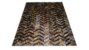 metallic hide rug black and gold on black chevron hide rug m6