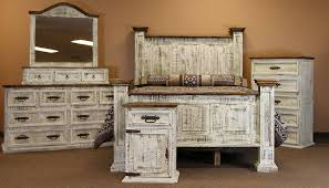 Distressed White Bedroom Furniture Cotton Bedding Sets ...