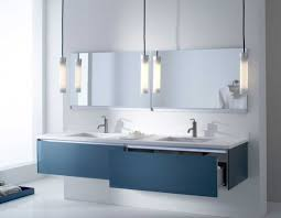 interior bathroom vanity lighting ideas. Contemporary Bathroom Vanity Lighting With Glass Tube Pendant Lamp Design Ideas Over Blue Wall Mounted Interior