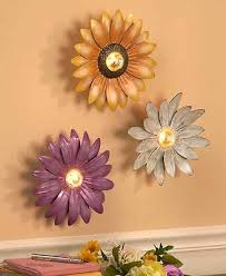 white purple lighted flowers wall decor