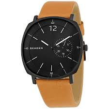 skagen rungsted black dial tan leather men s watch skw6257