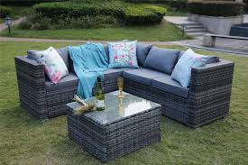 cover for outdoor furniture. Outdoor Rattan Garden Furniture 5 Seater Grey Corner Sofa Patio Set With Cover Option For H