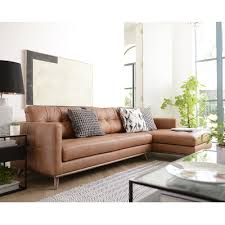 mille leather right hand corner sofa tan