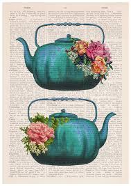 Kitchen Tea Gift Spring Sale Vintage Teapots Poster Tea Time Art Kitchen Art