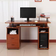 full size of desk computer desk with drawers and shelves homcom computer table 2 drawer