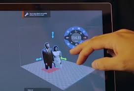 you can manipulate 3d scanned object in 3d builder by touch controls on microsoft surface tablet