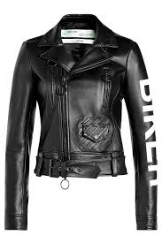 off white women clothing black leather biker jacket the bright white text on the sleeve