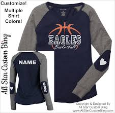 Basketball Cheer Shirt Designs Basketball Team Long Sleeve Slub Shirt With Elbow Patches