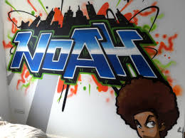 Noah Graffiti Bedroom Interior design, Feature wall www.graffiti4hire.co.uk