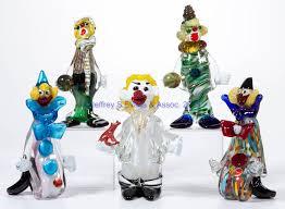 assorted murano art glass clowns lot of five