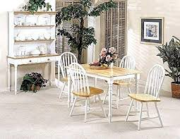 image unavailable image not available for color 5pc white natural finish wood dining table 4 windsor chair set