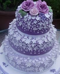 3 Tier Voilet Flower Rose Wedding Cake Mumbai Cakes And Cupcakes
