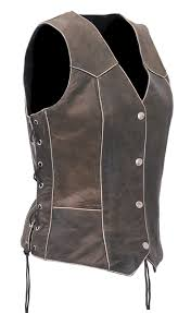vintage brown leather vest for women with side lacing vla516ldn com