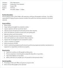 Resume Job Description Classy Press Operator Job Press Operator Job Description 60 Machine For