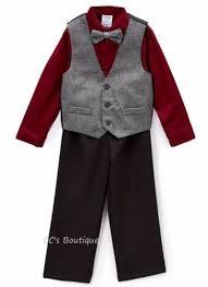 Details About Boys Izod Black Burgundy Suit 5 6 Nwt Dress