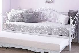 metal bed in white with trundle options