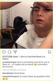 reese witherspoon reacts to cara delevingne sleeping in hair makeup video