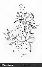 лотос эскизы эскиз лотоса и луны на белом фоне стоковое фото