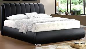 wood and leather bed grace black deep padded faux leather bed frame double pertaining to elegant wood and leather
