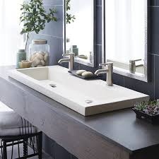 bathroom sensational trough sink from native trails in white high quality ceramic also american standard connoisseur faucet and elegant big mirror for