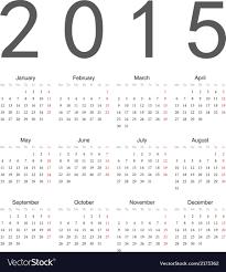 Simple 2015 Calendar Simple European 2015 Year Calendar Royalty Free Vector Image