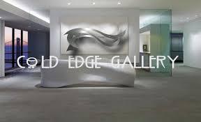 corporate extra large wall art decor sculpture abstract ocean breeze contemporary metal modern handmade aluminium