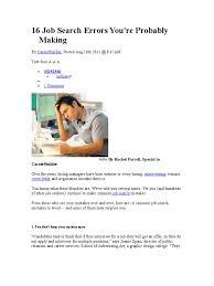16 Job Search Errors You Job Hunting Resume