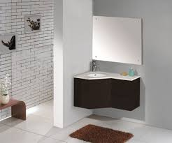 sink cabinet design for bathroom using dark brown wall mounted corner bathroom sink cabinet with white porcelain countertop