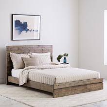 Modern bed Upholstered Emmerson Modern Reclaimed Wood Bed Stone Gray West Elm Modern Contemporary Beds West Elm